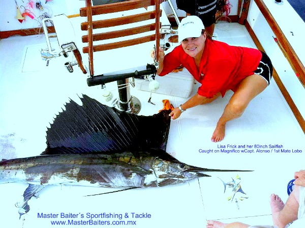Sailfish in the bay with Lisa Frick on the trash line!
