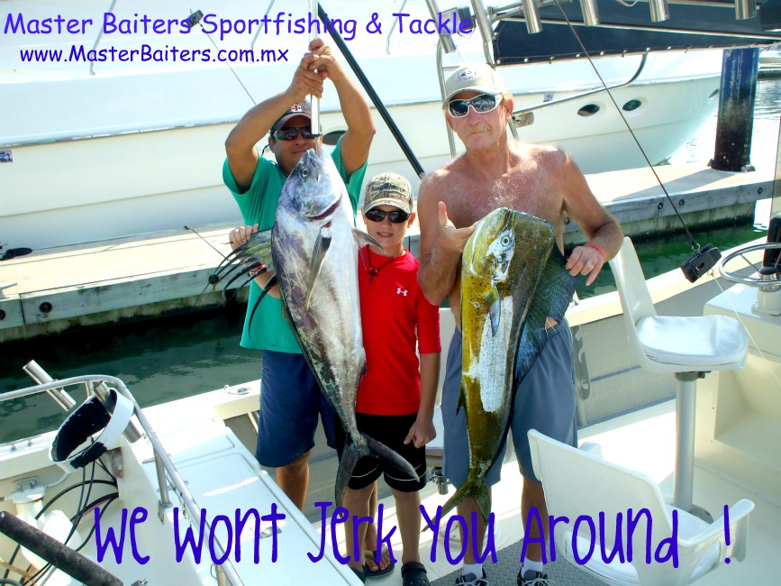 Capt Chema Holding Butchs Rooster fish and Bob Drake with his Dorado