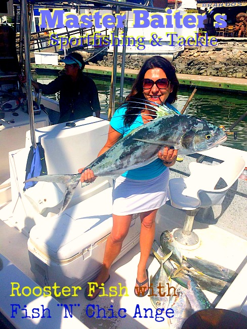 Our Store Mgr Ange (Fish ¨N¨ Chic) holding a 35 lb Rooster fish boated off Sayulita