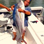 Capt. Moni of Bella Del Mar with a 75 lb Rooster Fish that is bigger than she is. Don´t be fooled, this woman is a fish catching machine!!