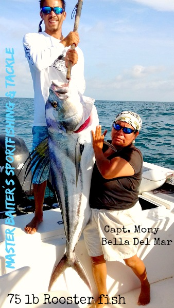 Capt. Mony with another 75 lb Rooster fish caught off the reef in Sayulita! Yes she´s a woman and Yes she catches fish! In fact Capt Mony is a High Performance Professional so don´t let her gender stop you, she learned on the docks form the time she was in diapers.