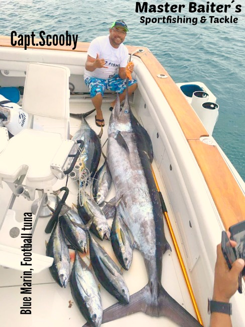 Capt.Scooby one again at El Banco with a nice Blue Marlin and a Bunch of Skippies !